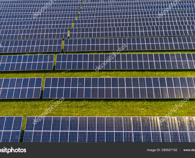 New Energy, Solar panel, alternative electricity source. Aerial view of solar photovoltaic panels